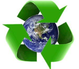 recycle logo with earth at center 300x266